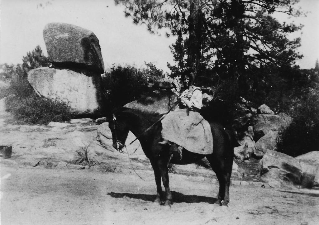 Mary Thomas on horseback by Hemet Lake