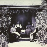 Mr.& Mrs. Charles Thomas, Emma, Friend and Maid on Porch of Ranch house 1880′s